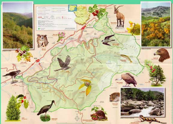 Mapa Reserva Natural Garganta de los Infiernos Valle del Jerte
