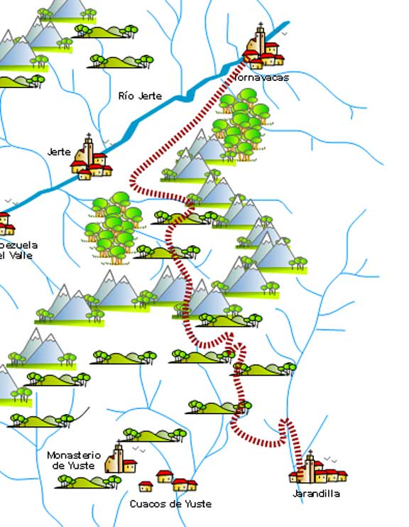 Mapa senderismo Ruta Carlos V Valle del Jerte